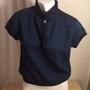 Zara Basic Blue short Sleeve Blue Blouse USA XS